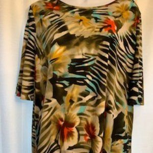 Susan Graver QVC Sz XL Slit Sleeve Tropical Top